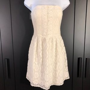Abercrombie strapless lace mini dress in off white